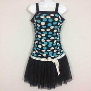 I.N. Girl Sz 16 Polka Dot Ruffled Midi Dress
